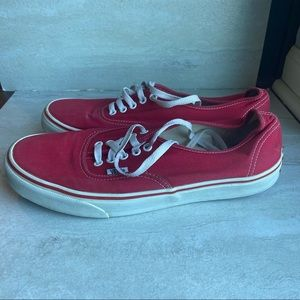 Vans red white lace up tie low top sneakers 10.5